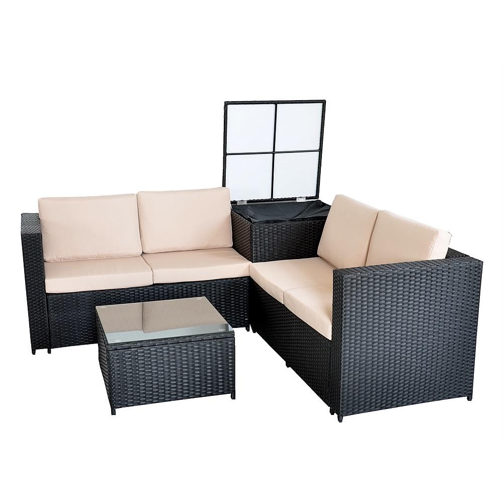 rattan lounge tisch und kissenbox in schwarz garten sofa lounge gartenm bel ebay. Black Bedroom Furniture Sets. Home Design Ideas