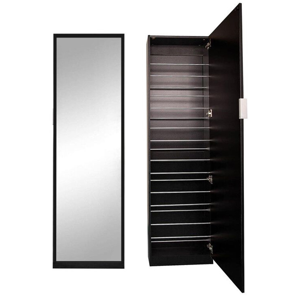 180cm spiegelschuhschrank schwarz flur schrank kommode schuhschrank schuhregal ebay. Black Bedroom Furniture Sets. Home Design Ideas