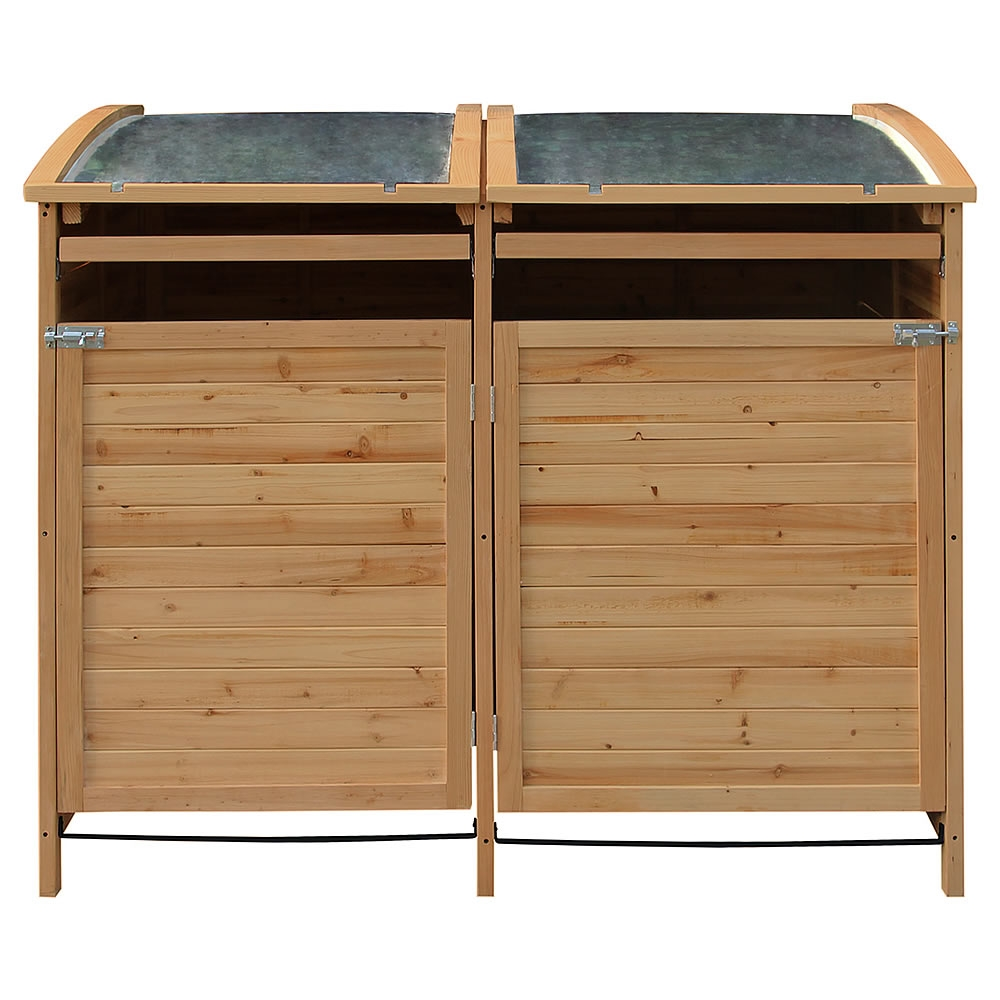 2 st ck m lltonnenbox doppelbox m lltonnenverkleidung m lltonne 240 l holz decke ebay. Black Bedroom Furniture Sets. Home Design Ideas
