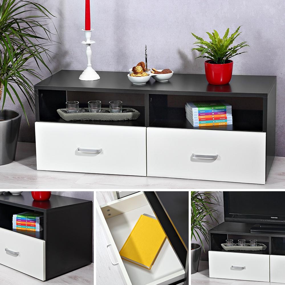 lowboard wei schwarz sideboard regal tv tisch highboard wohnwand fernsehschrank ebay. Black Bedroom Furniture Sets. Home Design Ideas