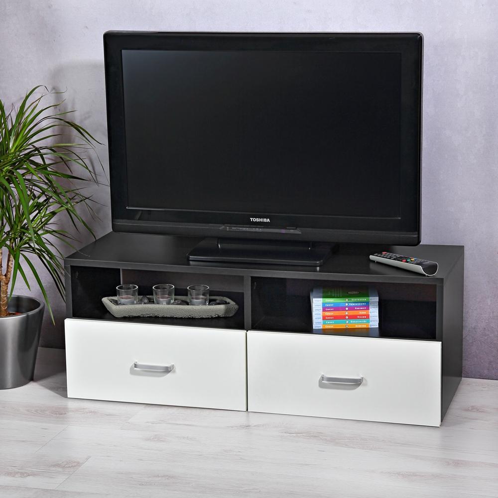 Lowboard wei schwarz sideboard regal tv tisch highboard for Tisch schwarz