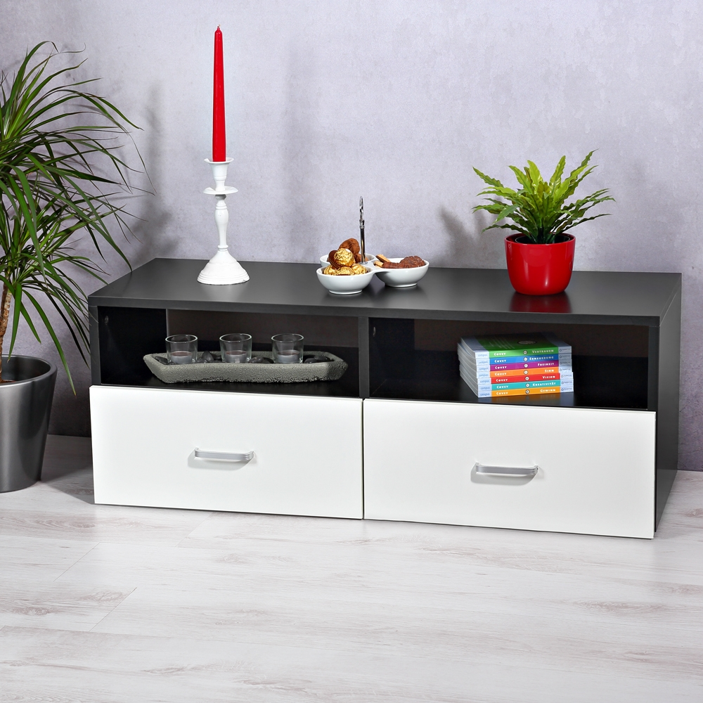 lowboard wei schwarz sideboard regal tv tisch highboard wohnwand fernsehschrank ebay