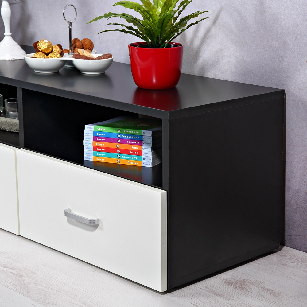 lowboard wei schwarz sideboard regal tv tisch highboard. Black Bedroom Furniture Sets. Home Design Ideas