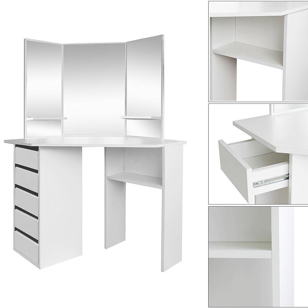 eckschminktisch wei kosmetik tisch mit fach eck spiegel kommode frisierkommode ebay. Black Bedroom Furniture Sets. Home Design Ideas