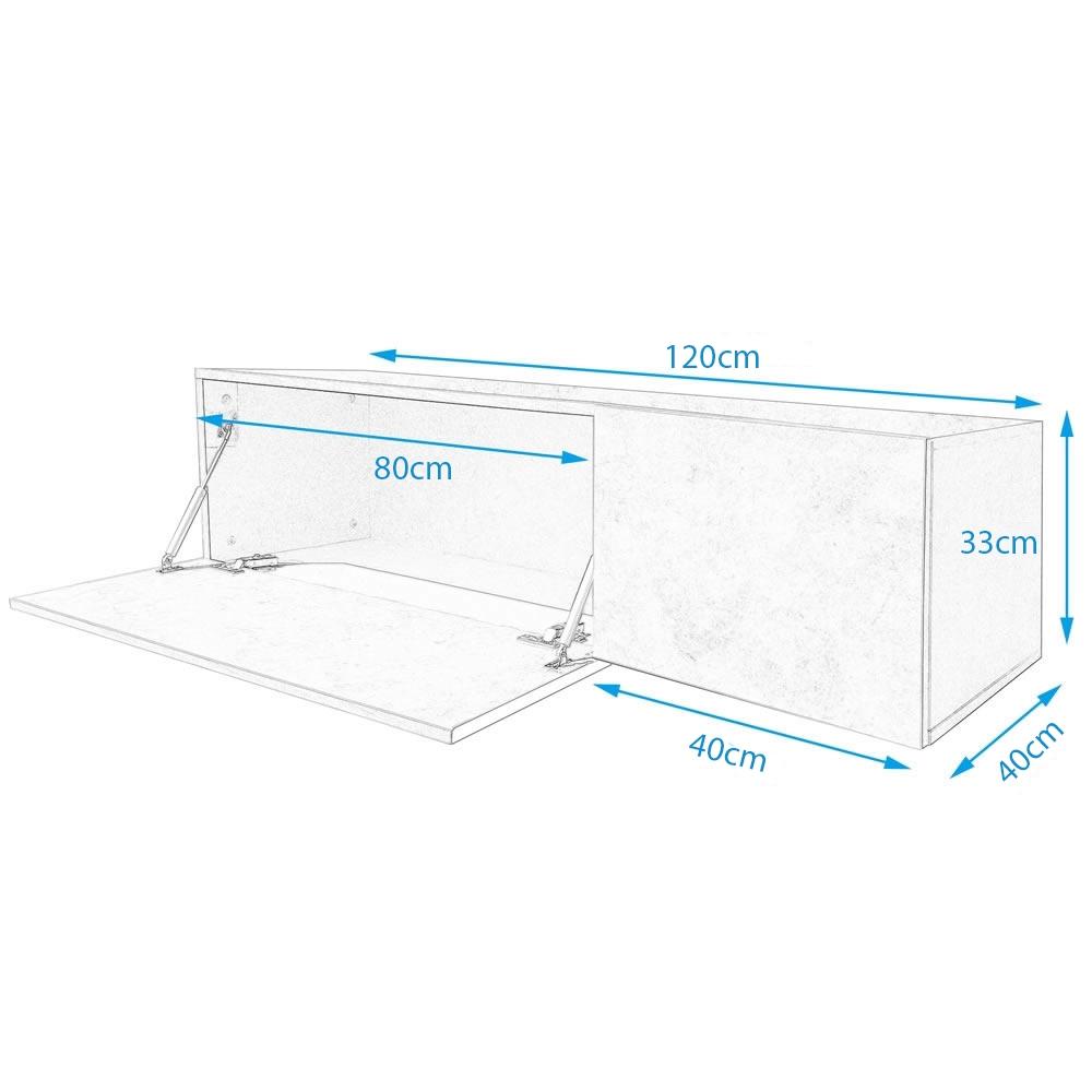 120cm lowboard grau tv bank fernsehtisch fernsehunterschrank tisch hifi schrank ebay. Black Bedroom Furniture Sets. Home Design Ideas