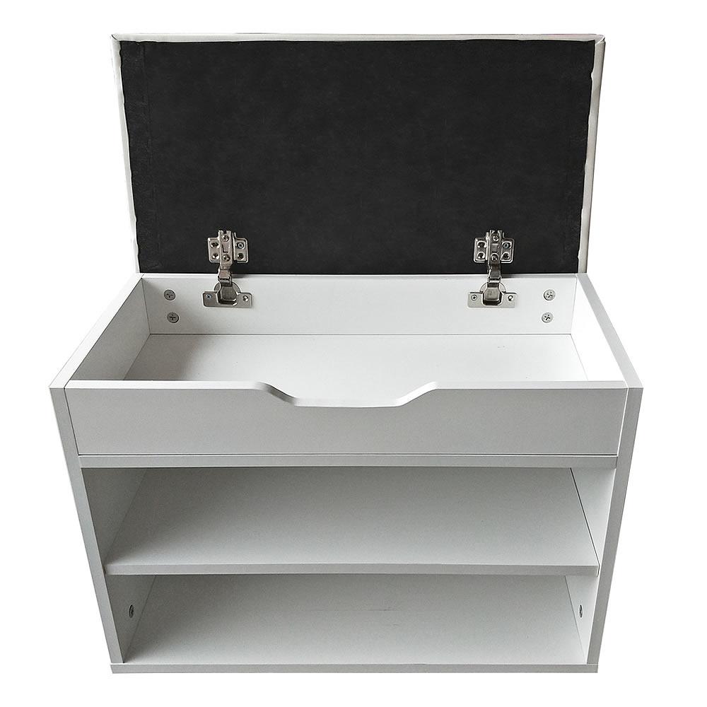schuhablage klappdeckel sitzkissen 6 paar schuhe wei schuhbank sitzkommode holz ebay. Black Bedroom Furniture Sets. Home Design Ideas