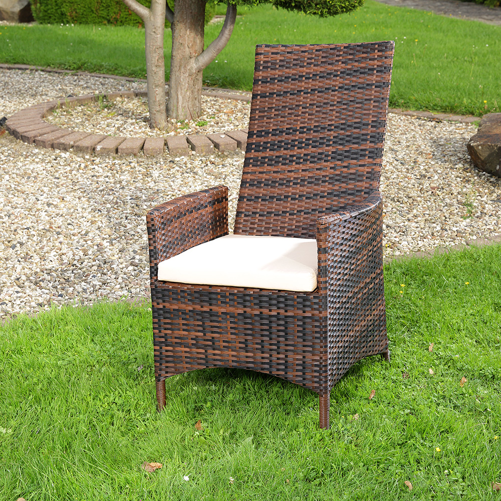 verstellbarer garten relaxsessel braun polyrattan gartenm bel balkon sitzm bel ebay. Black Bedroom Furniture Sets. Home Design Ideas