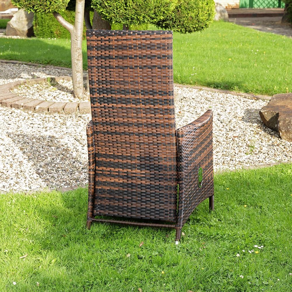 lounge sessel aus poly rattan hoher lehne kissen garten terrassen sessel braun ebay. Black Bedroom Furniture Sets. Home Design Ideas
