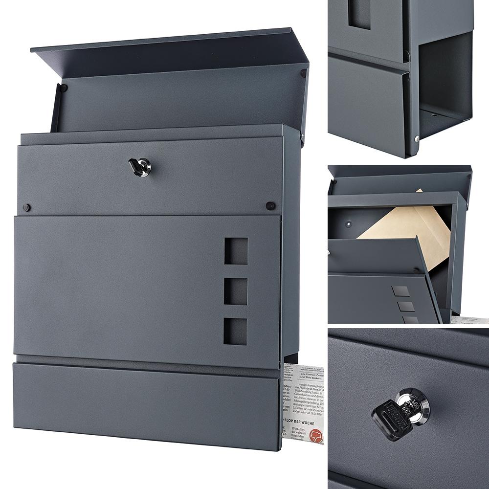 Briefkasten Wandbriefkasten Postkasten Mailbox Anthrazit Zeitungsfach Design