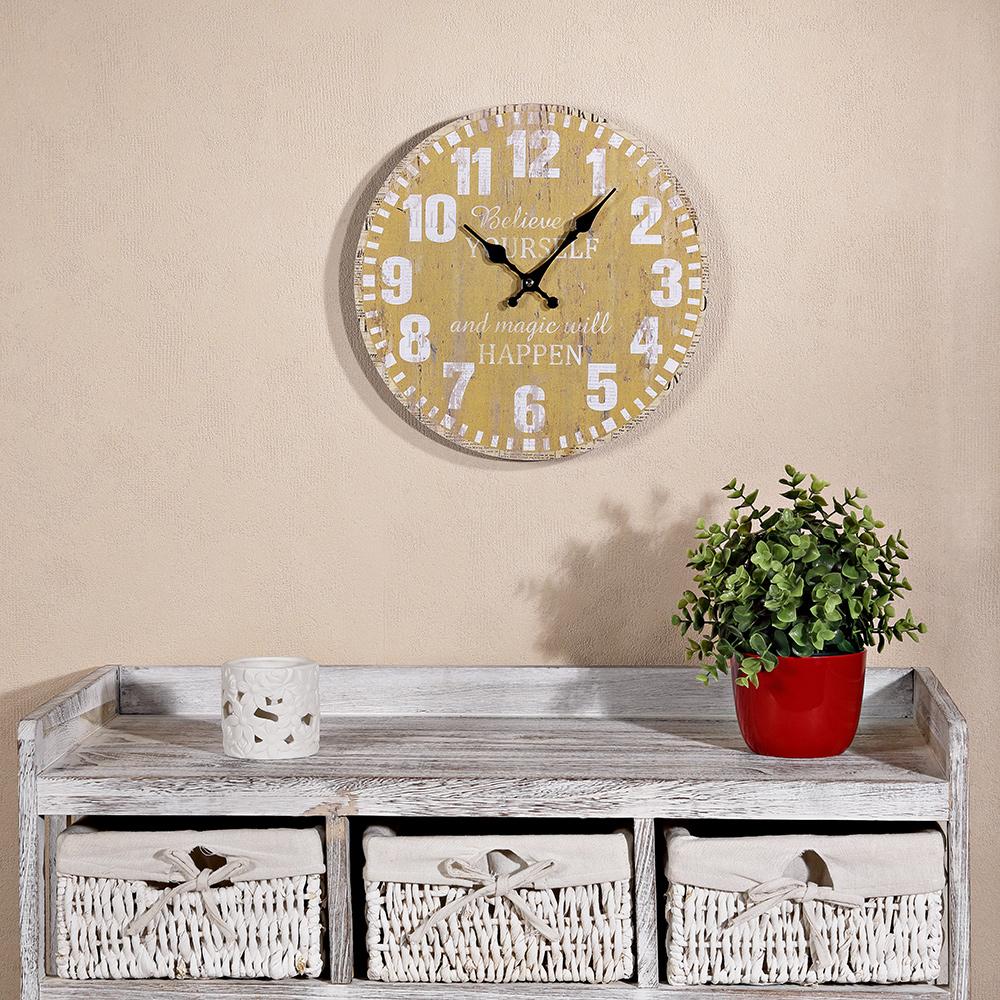 holzuhr in gelb wanduhr dekouhr nebenuhr werksuhr 33cm vintage stil ebay. Black Bedroom Furniture Sets. Home Design Ideas