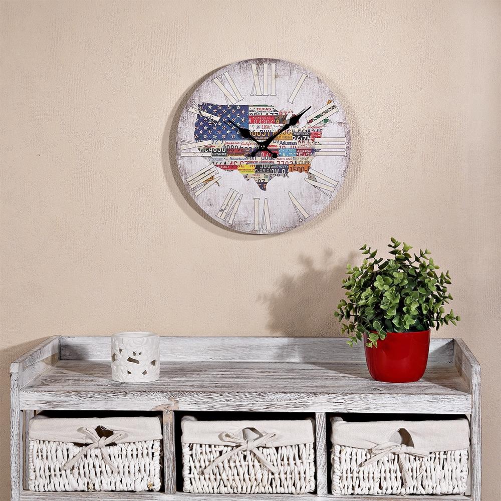 Shabby wanduhr amerika usa flagge uhr holz jugendzimmer for Jugendzimmer vintage