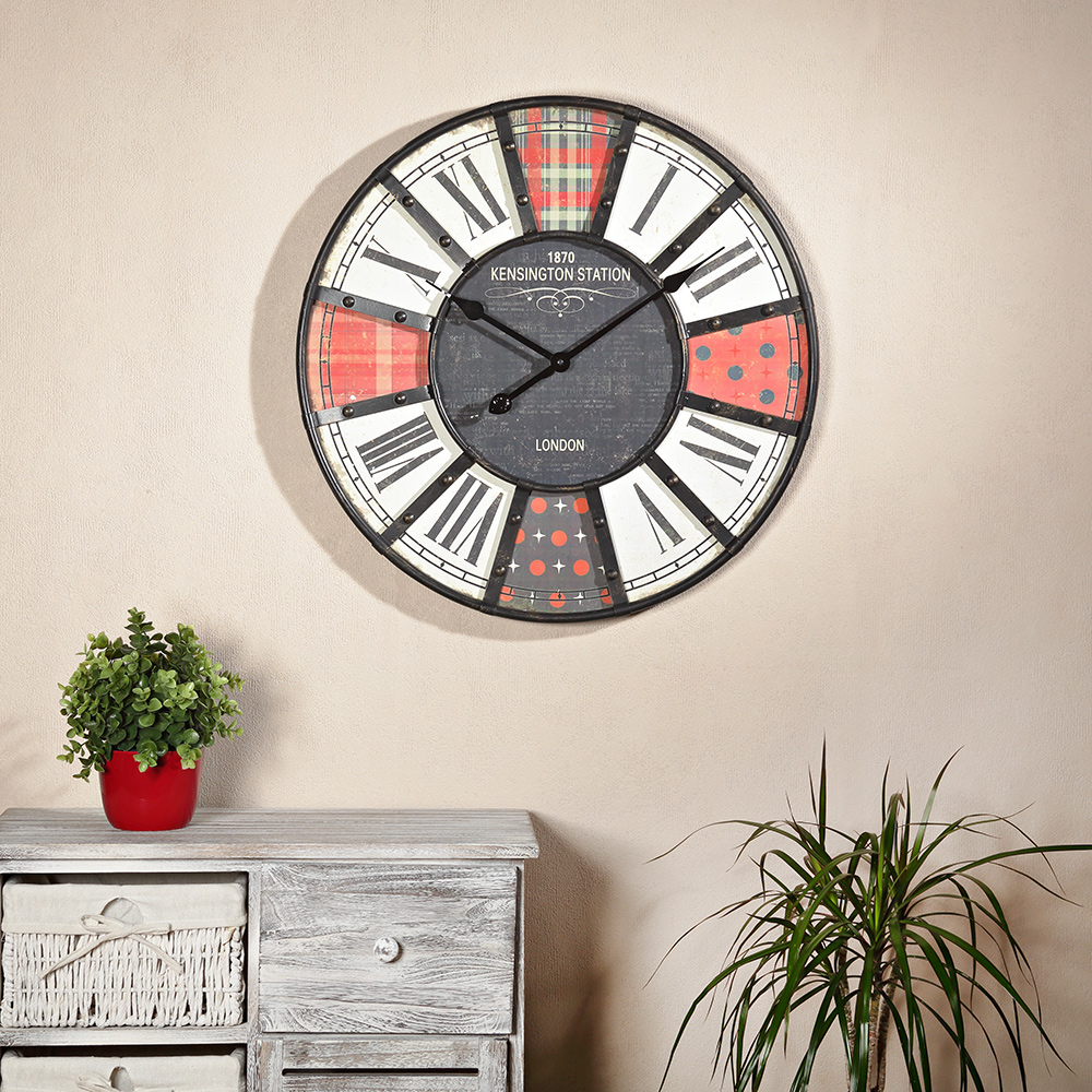 60cm wooden metal decorative watch in red black london. Black Bedroom Furniture Sets. Home Design Ideas