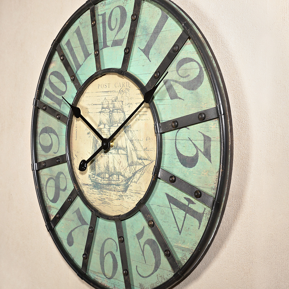 60cm metal wall clock shabby chic style ship motif. Black Bedroom Furniture Sets. Home Design Ideas