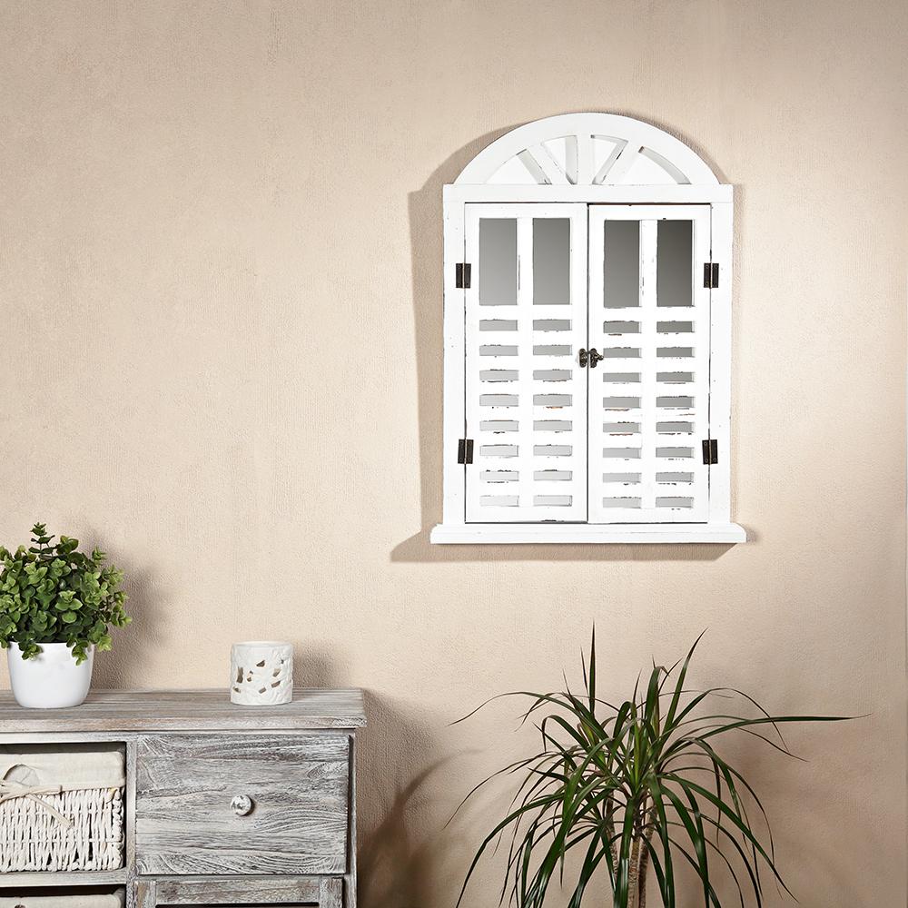 Fensterläden Bilderrahmen shabby Rundbogen Spiegelfenster Melko® Deko Spiegel