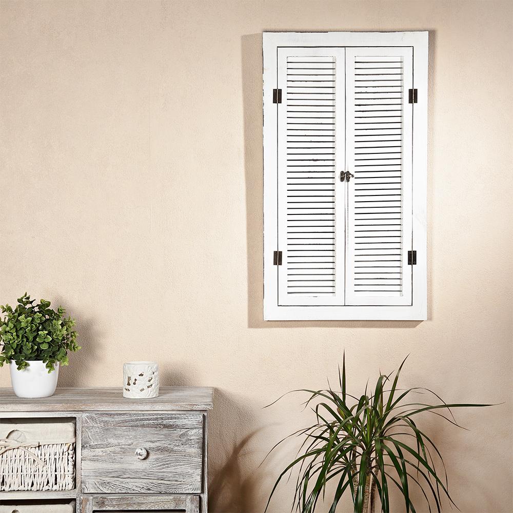 72cm wandspiegel mit fensterladen ablage im shabby chic wei holz spiegel neu ebay. Black Bedroom Furniture Sets. Home Design Ideas