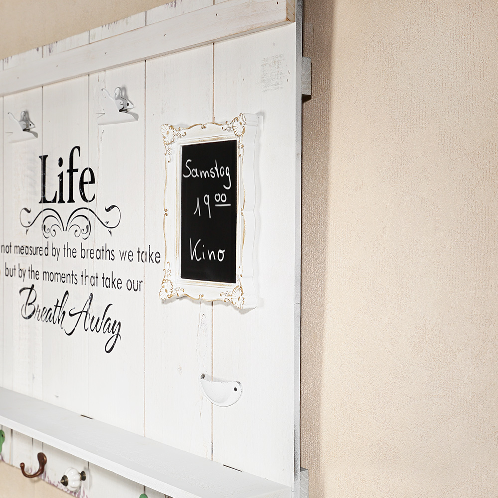 wandbild 89cm inkl tafel 8 haken ablage usw life garderobe holz wandgarder ebay. Black Bedroom Furniture Sets. Home Design Ideas