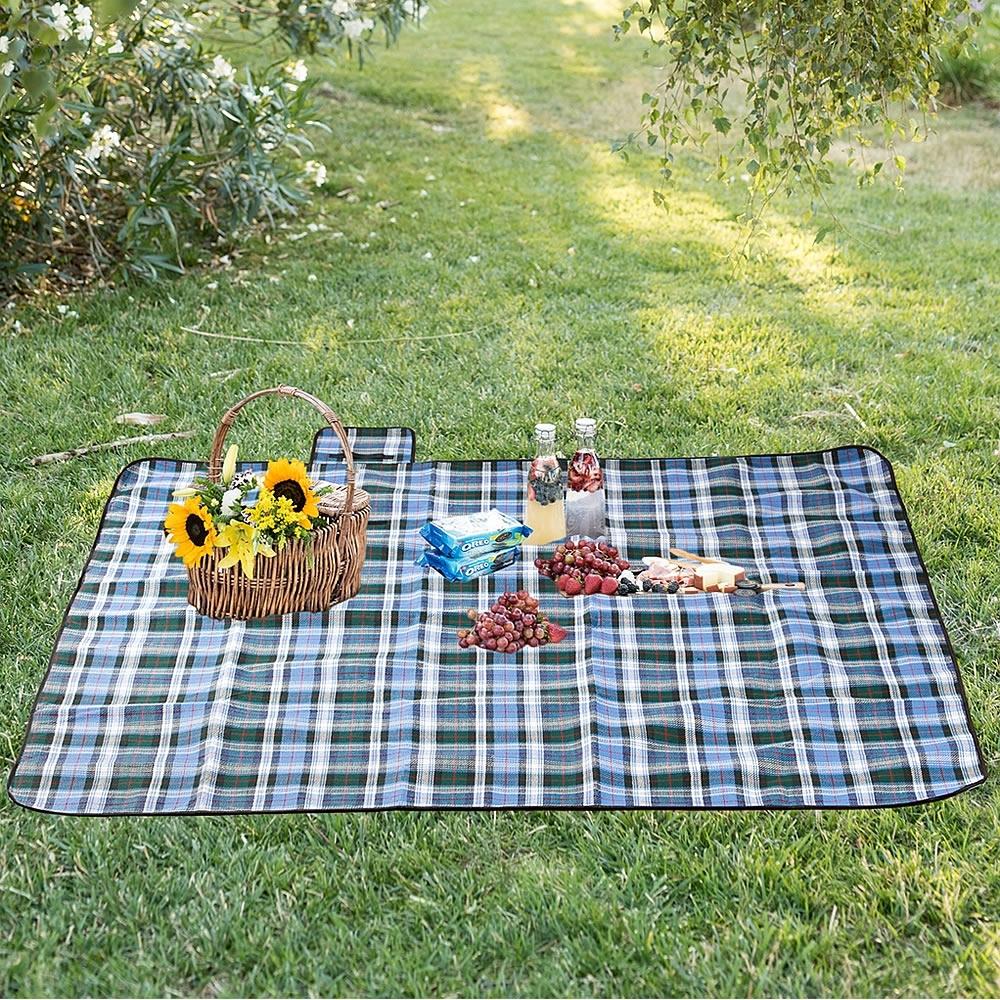 200x200cm Picknickdecke SchwarzBlau Campingdecke Reisedecke Strand Decke Matte