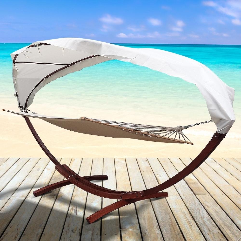 xxl h ngematte mit gestell dach 400x120cm gartenliege sonnenliege holz m bel ebay. Black Bedroom Furniture Sets. Home Design Ideas