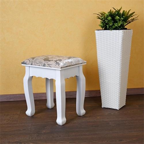 polsterhocker in wei f r schminktisch schminktischhocker. Black Bedroom Furniture Sets. Home Design Ideas