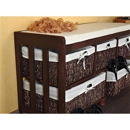 sitzbank flurbank holz wei landhaus holzbank truhe schuhbank bank stoffbezug ebay. Black Bedroom Furniture Sets. Home Design Ideas