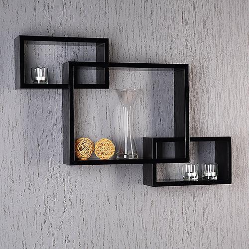 3er 4er set h ngeregal b cherregal wandregal retro cube for Regal schwarz hochglanz