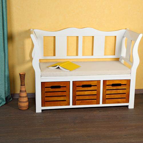 sitzbank flurbank holz wei landhaus holzbank truhe kommode bank hocker e ebay. Black Bedroom Furniture Sets. Home Design Ideas