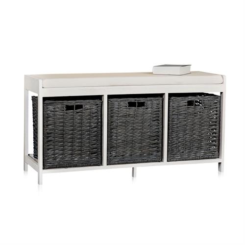 schuhablage sitzbank ink k rben kissen holz weide. Black Bedroom Furniture Sets. Home Design Ideas