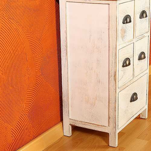 antike kommode anrichte in wei shabby chic mit 5 schubladen konsole schrank ebay. Black Bedroom Furniture Sets. Home Design Ideas